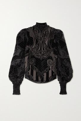 Balmain - Shirred Devore-velvet Blouse - Black