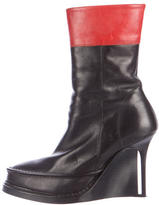 Ann Demeulemeester Leather Semi Pointed Wedge Ankle Boots