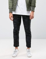 Asos Slim Cropped Pants With Pleats In Dark Blue Camo