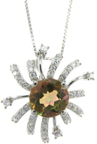 Ice Bliss Collection Mango Magic Topaz and Cubic Zirconia Sunburst Silver Necklace