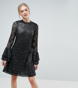 Little Mistress Tall Metallic Cutwork Lace Swing Dress With Fluted Sleeve Detail-Silver
