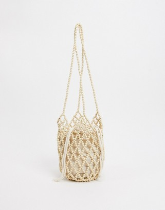 Accessorize beaded basket grab bag in white