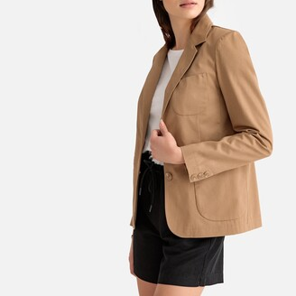 La Redoute Collections Fitted Single-Breasted Blazer in Cotton