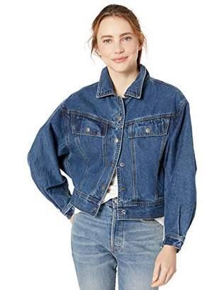August Sky Women's Oversize Dark Denim Jacket-Denim-M