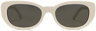Saint Laurent Betty Vintage Sunglasses in Shiny Ivory & Grey | FWRD