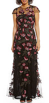 David Meister Cap Sleeve A-line Floral Embroidery Gown