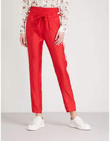 The Kooples Striped-trim straight silk-satin trousers