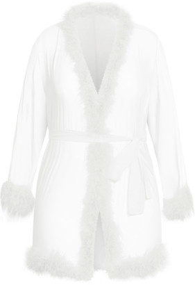 City Chic Marabou Trim Short Robe - ivory