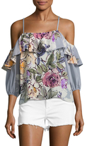 Tracy Reese Floral Print Flounce Blouse