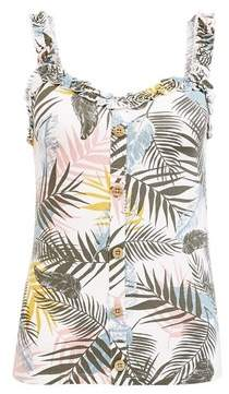 Dorothy Perkins Womens Ivory Palm Print Button Vest, Ivory