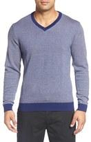 Bobby Jones Herringbone Merino Wool V-Neck Sweater