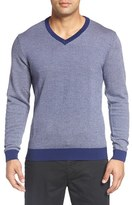 Bobby Jones Men's Herringbone Merino Wool V-Neck Sweater