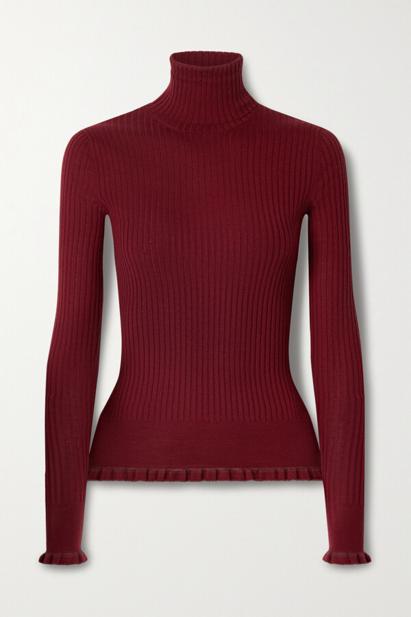 Victoria Secret Moda International Red Silk /& Cashmere Turtle Neck Sweater L
