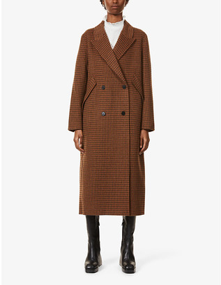 Sandro Merry checked double-breasted wool-blend coat