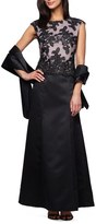 Alex Evenings Embroidered Bodice Satin Gown & Shawl (Petite)