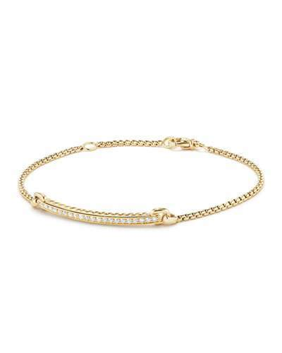 David Yurman Petite Pave Diamond Station Bracelet in 18k Yellow Gold