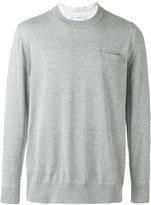 Sacai shirt insert sweater - men - Cotton/Cupro - 2