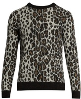 Saint Laurent Leopard-print Crew-neck Mohair-blend Sweater