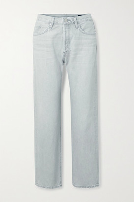 Gold Sign The Relaxed Straight Organic High-rise Jeans - Light gray