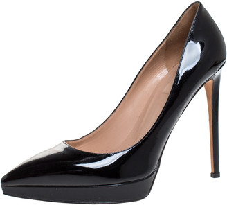 Valentino Black Patent Leather Pointed Toe Platform Pumps Size 41