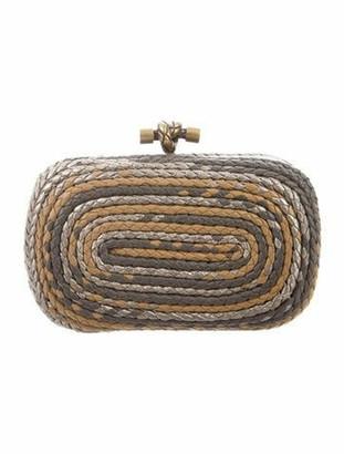 Bottega Veneta Intrecciato Rope Knot Clutch Grey