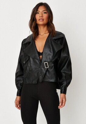 Missguided Black Faux Leather Balloon Sleeve Oversized Biker Jacket