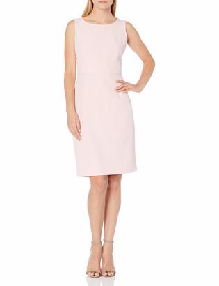 Kasper Women's Stretch Crepe Sheath Dress with Scallop Waist Detail