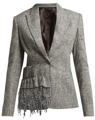 Carl Kapp - Frill-trim Tweed Blazer - Grey Multi