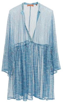 Missoni Mare V-neck Striped Lame-jacquard Coverup - Blue Multi