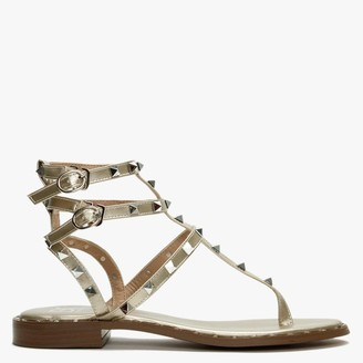 Df By Daniel Cube Gold Square Studded Gladiator Sandals