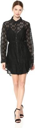 The Fifth Label Women's Long Sleeve Sheer Geometric LACE Shirt Dress