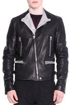 Lanvin Asymmetric-Zip Leather Moto Jacket, Black