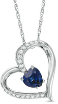 Zales 6.0mm Heart-Shaped Lab-Created Blue and White Sapphire Heart Pendant in Sterling Silver