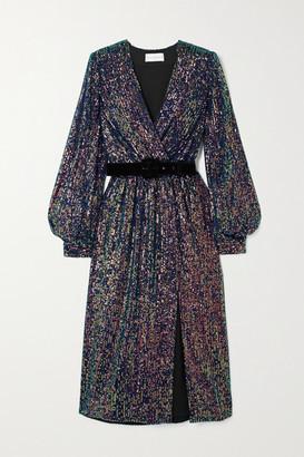 Rebecca Vallance Roxbury Belted Wrap-effect Sequined Chiffon Midi Dress - Purple