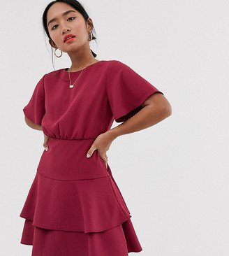 Forever New Petite tiered flippy hem mini dress in raspberry