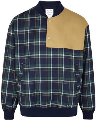 Mistergentleman Navy checked bomber jacket