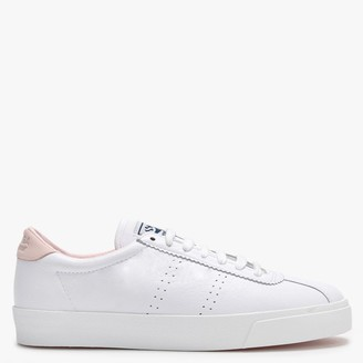 Superga 2843 Comfleau White Leather Pink Flash Lace Up Trainers