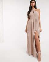 Bariano shimmer plisse halter neck maxi dress in caramel