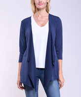 Lbisse Women's Open Cardigans Indigo - Indigo Drape-Front Three-Quarter Sleeve Open Cardigan - Women