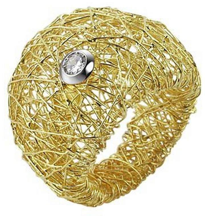 Orlando Orlandini Arianna - 18K Gold Wide Ring w/ Round Diamond
