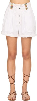Etro High Waist Cotton Twill Shorts