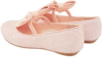 Monsoon Girls Estella Glitter Bow Ballerina - Pale Pink