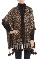 Gorski Reversible Cashmere Rabbit-Trim Wrap, Brown
