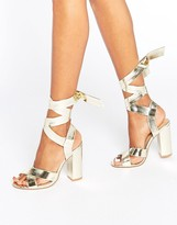 Boohoo Tie Up Block Heeled Sandal