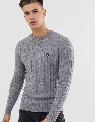 Lyle & Scott cable knit crew neck wool blend jumper in grey
