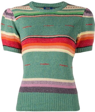 Polo Ralph Lauren Striped Rib-Trimmed Knitted Top