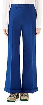 Gucci Women's Cady Crepe Wool Silk Wide-Leg Pants