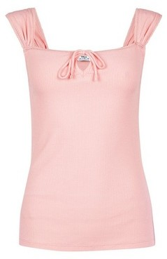 Dorothy Perkins Womens **Tall Pink Square Neck Ribbed Top, Pink