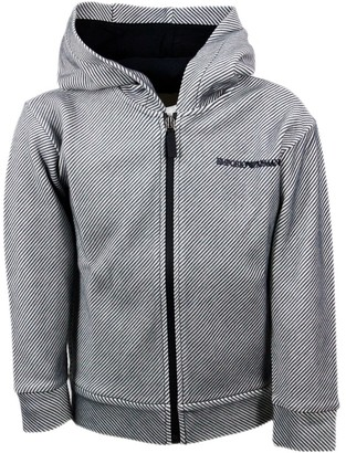 Emporio Armani Sweatshirt With Hood And Electro-welded Zip With Embossed Striped Fabric