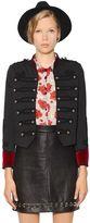 The Kooples Cotton & Velvet Military Jacket